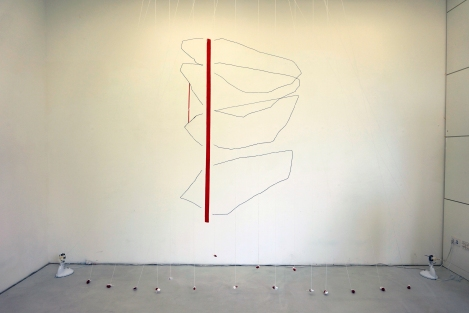 Hörstein, 'wall drawing and installation with stone, electric fan, white string', dimension variable, 2016