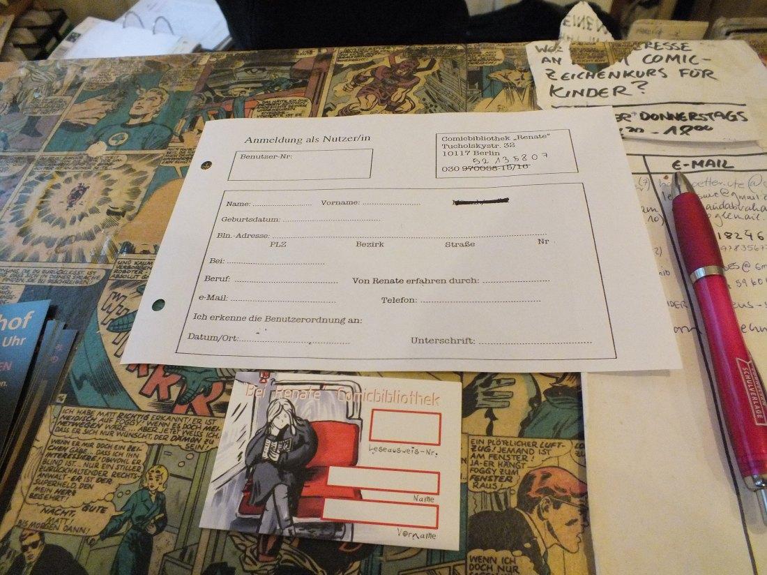 만화책 도서관 사용 가능 카드 및 기입서